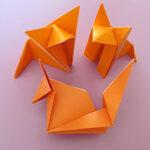 Дружная семейка из трех разных лис (оригами)