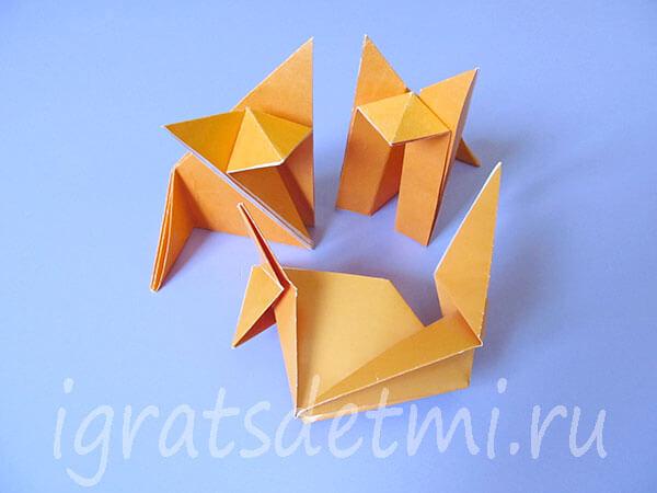Три варианта лис оригами из бумаги