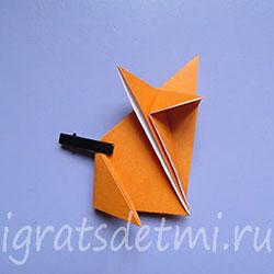 Загибаем хвост лисы - оригами по схеме 5(а)