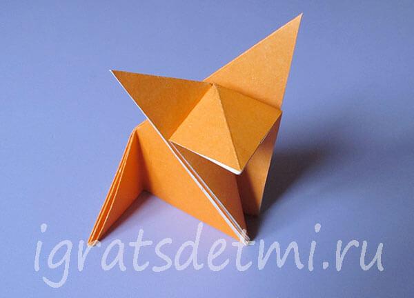 Лиса оригами из бумаги. Модель 2